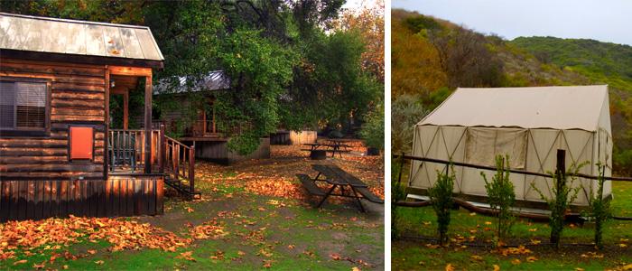 Os chalés e a tenda