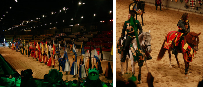 Cavaleiros se apresentando