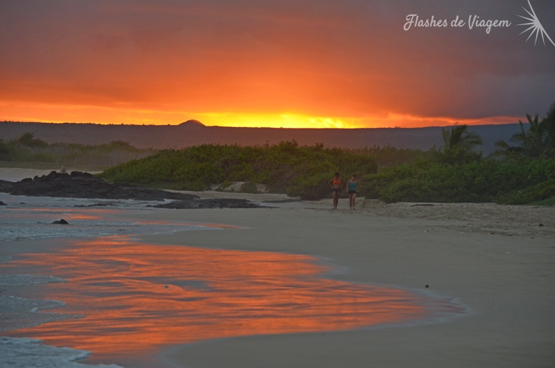 Parecia que o ceu estava em chamas durante o por-do-sol na Ilha Isabela