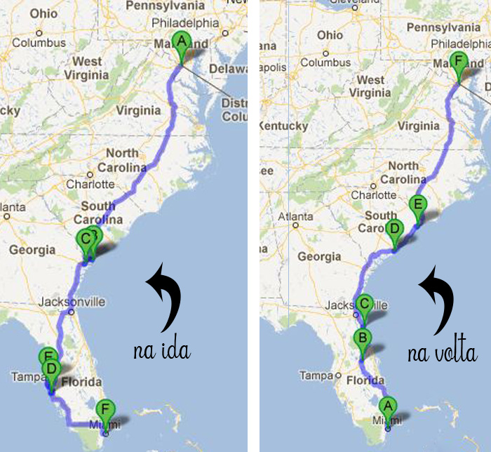 Mapa de DC a Miami