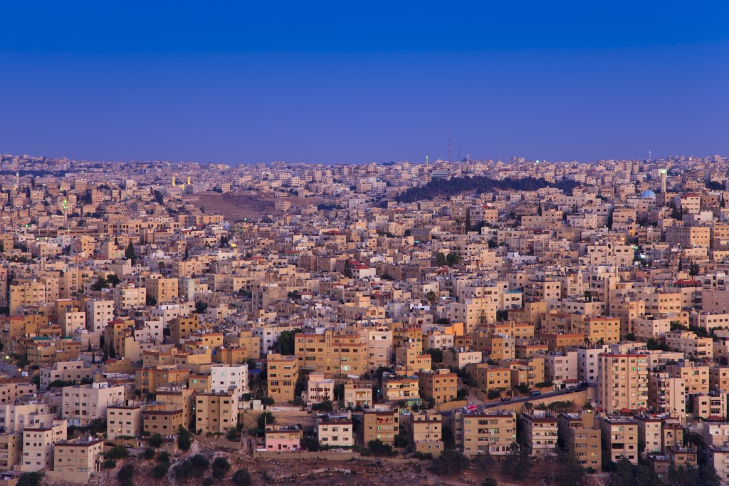 View of Amman during sunset, as seen from the Le Royal Hotel.
