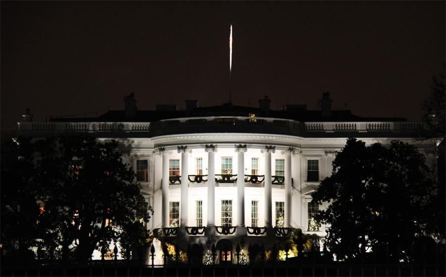 A Casa Branca enfeitada para o Natal