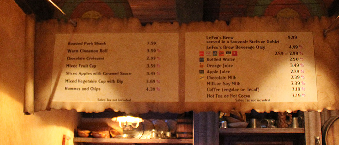 Menu da Gaston's Tavern