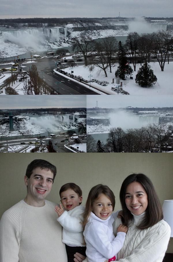 Manhã do dia 31 de dezembro, vista do nosso hotel (Sheraton on the Falls) em Niagara Falls, Canadá