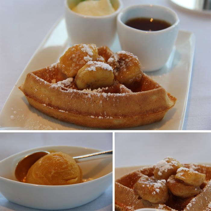 Waffle com Banana flambada