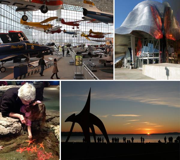 Algumas atrações da cidade: Museum of Flight, EMP, Seattle Aquarium e Olympic Sculpture Park