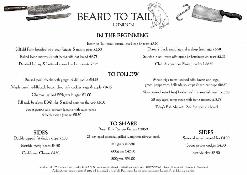 menu do Beard to Tail