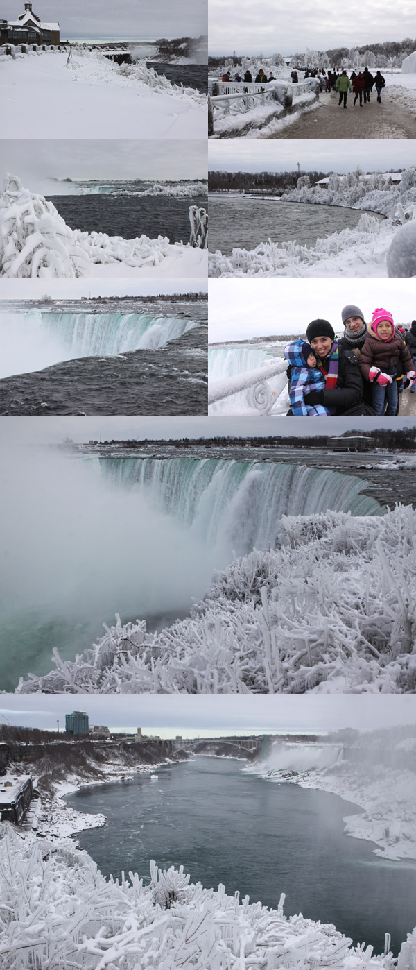 As Cataratas do Niágara com neve e gelo, no lado canadense.