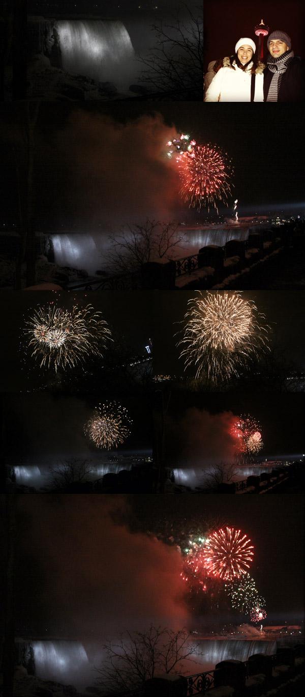 Os fogos de Ano Novo sobre as Cataratas do Niágara em Niagara Falls, Canadá