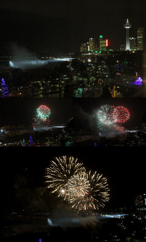 Queima de fogos das 21h, vista do nosso quarto no Sheraton on the Falls, Niagara Falls, Canadá