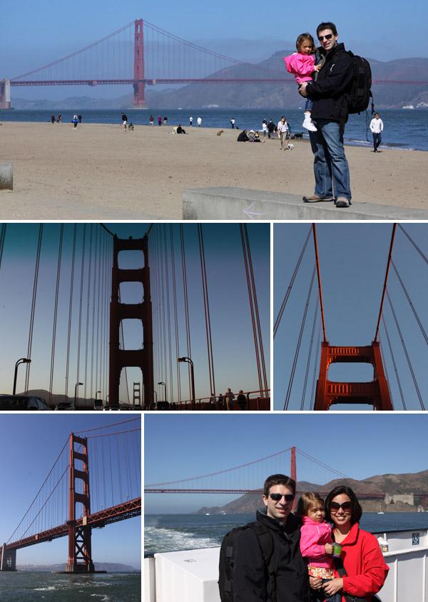 Vendo a Golden Gate da praia de Crissy Field, de dentro do carro e do passeio de barco