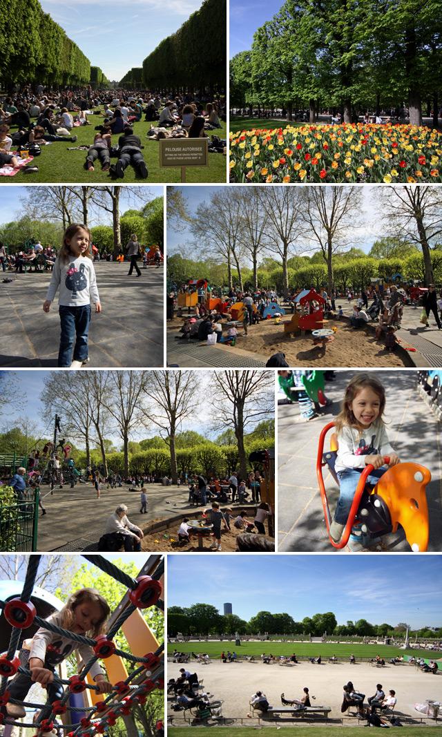 Jardim de Luxemburgo lotado num dia de sol, Julia e a criançada se acabando no parquinho