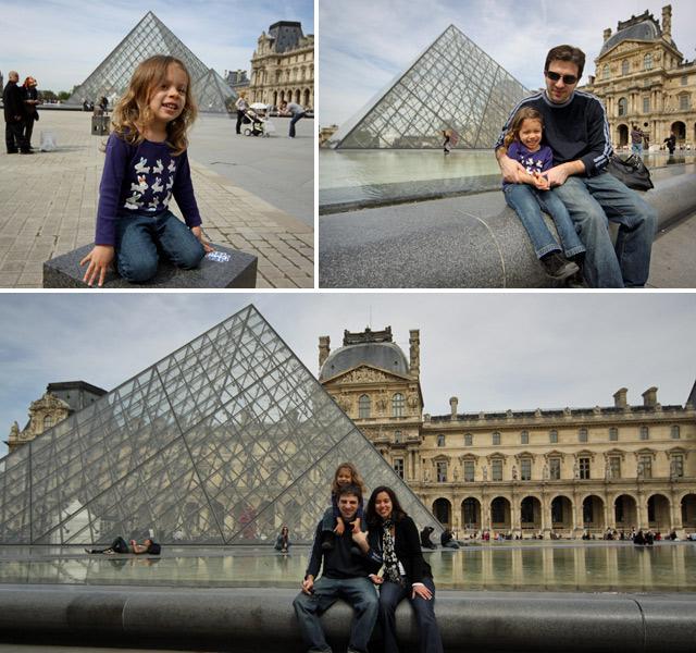 Julia adorou correr nas áreas abertas do Louvre