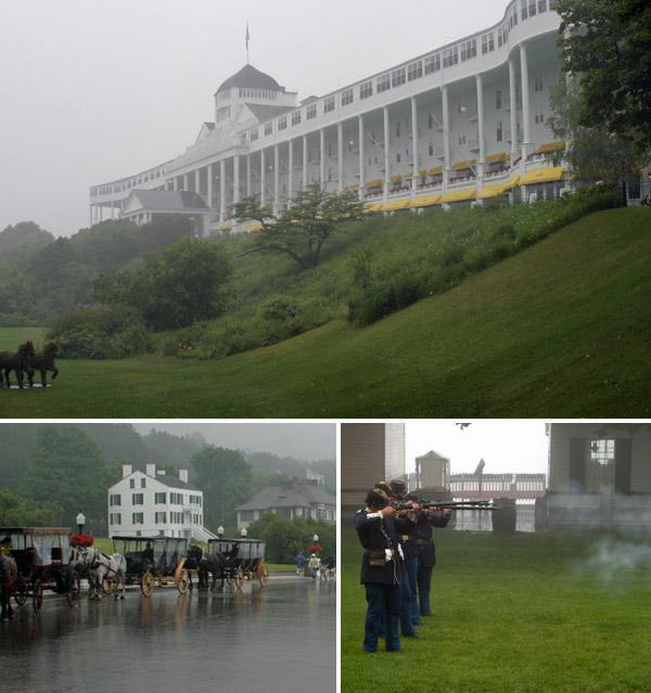 Grand Hotel e os soldados em ação no forte em Mackinac Island, em dia de muita neblina