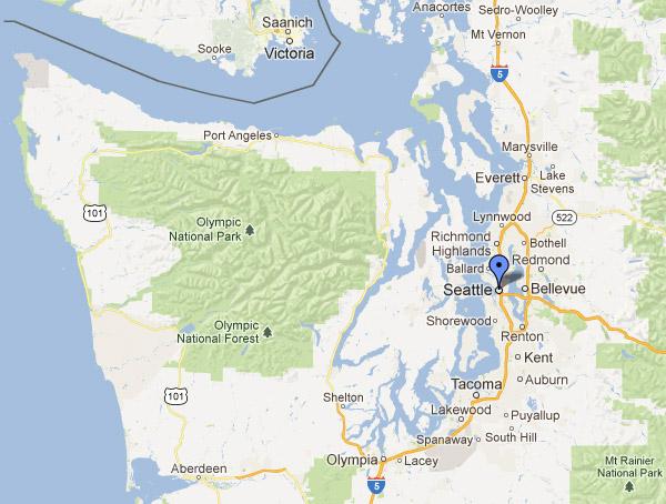 Localização de Seattle, vejam o oceano Pacífico a esquerda e como é longe da cidade