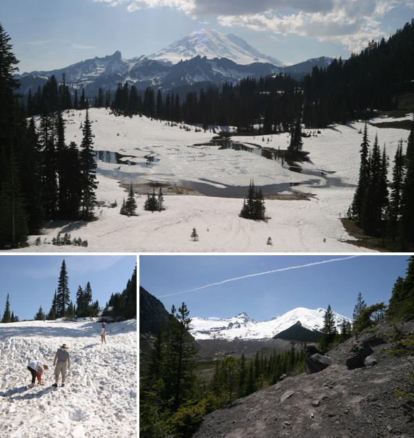 Chegando pertinho do pico do Mt Rainier e fazendo uma guerra de bolas de neve de short e camiseta