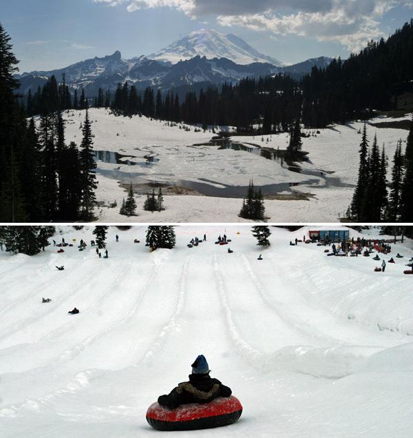 Mt Rainier e Tubing em Snoqualmie Pass