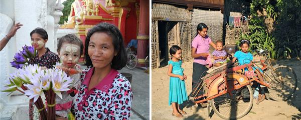 Mulheres e crianças de Mianmar, as meninas usando a thanaka no rosto