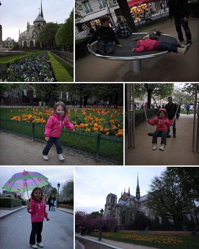 Julia se divertiu no parquinho nos fundos da Notre Dame em Paris