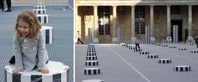 Julia adorou brincar nas colunas do Palais Royal em Paris