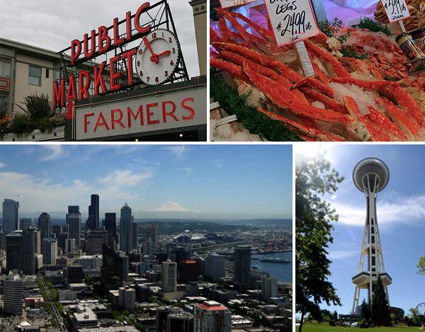 O centenário Pike Place Market, a Space Needle e a vista lá de cima