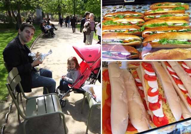 Gabe e Julia comendo sanduíches na baguette no Jardim de Luxemburgo