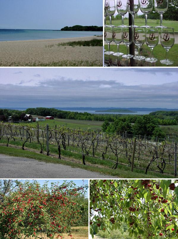 Praia, vinícolas e cerejas em Traverse City, Michigan