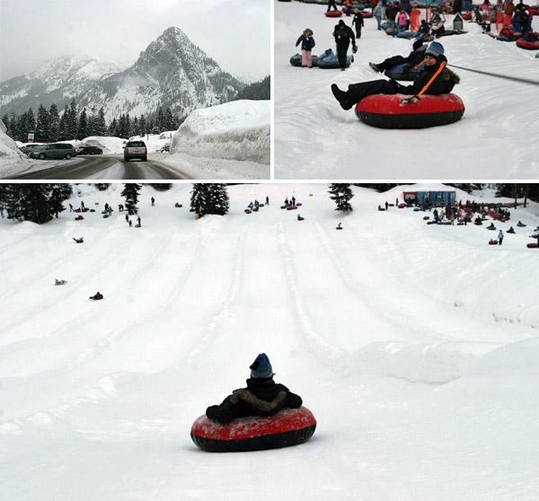 Eu não gosto de esquiar, mas adoro fazer tubing! Aqui na estação de esqui Snoqualmie Pass