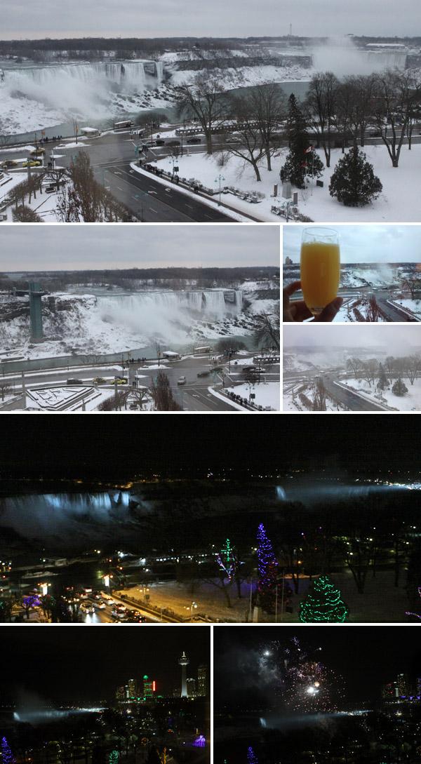 Vista do nosso quarto no Sheraton on the Falls, em Niagara Falls, Ontario, Canadá