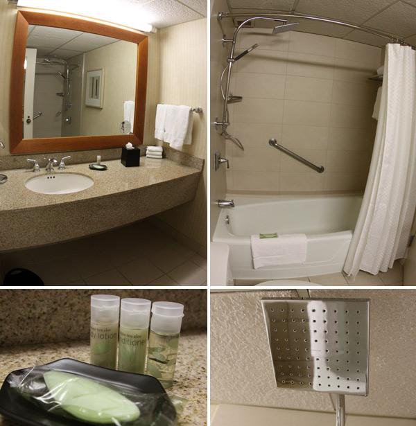 Banheiro do nosso quarto no hotel Westin Oaks Houston at the Galleria