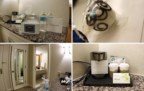 Detalhes do nosso quarto no hotel Westin Oaks Houston at the Galleria
