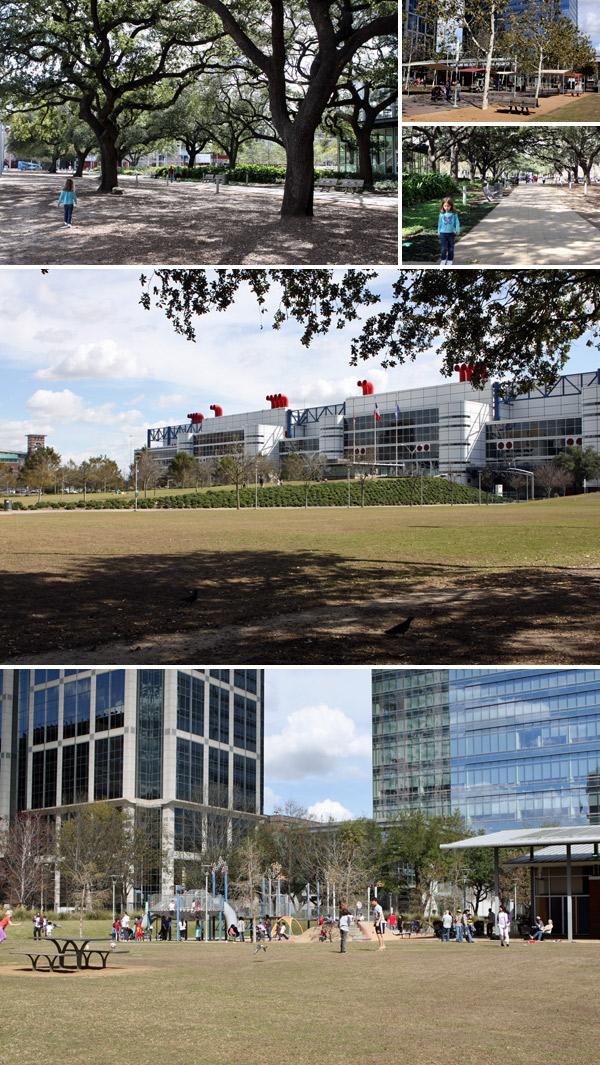 Passeando pelo Discovery Green em Houston