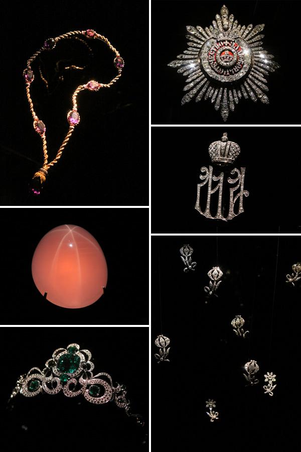 Jóias e gemas do Houston Museum of Natural Science. Do lado direito, as jóias do império de Catarina, a Grande