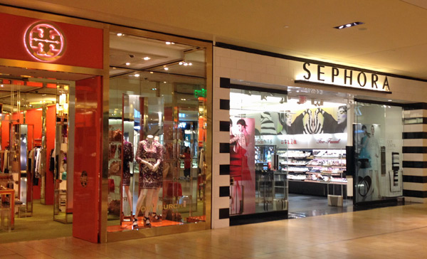 Tory Burch e Sephora no Galleria em Houston