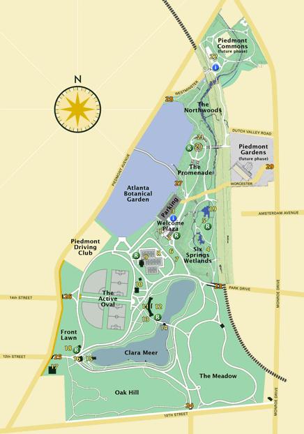 Mapa do Piedmont Park em Atlanta Fonte: Piedmont Park Conservancy