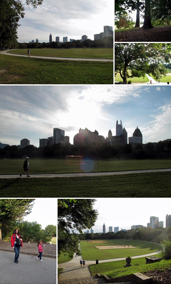 Do Piedmont Park você tem uma ótima vista do skyline de Atlanta