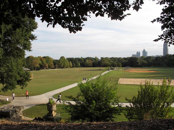 Os campos do Piedmont Park em Atlanta