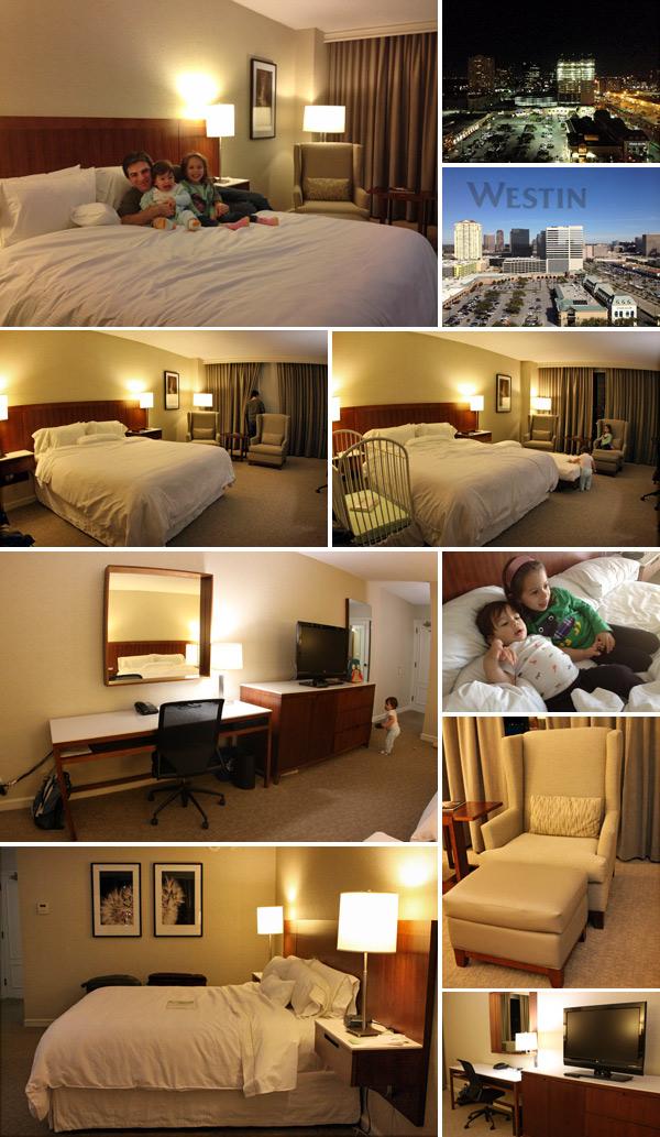 Nosso quarto no hotel Westin Oaks Houston at the Galleria, bem espaçoso
