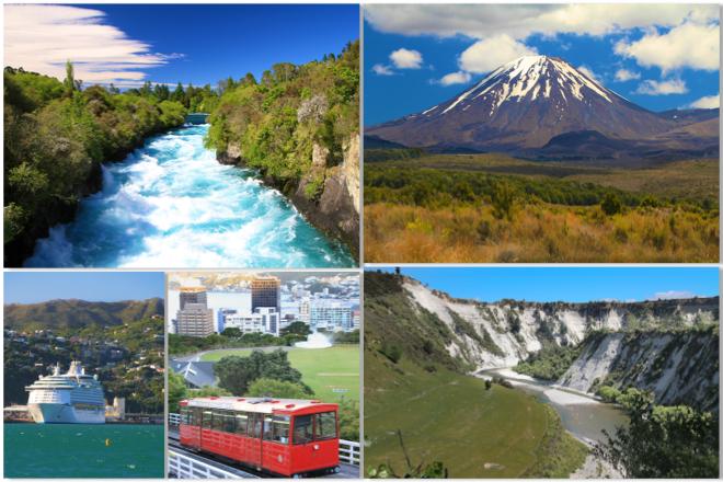 Imagens do primeiro dia da Viagem (Huka Falls, Tongariro National Park, Rangitikei & Wellington)