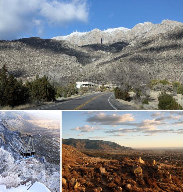 A cidade de Albuquerque tem as montanhas ao fundo, e nós subimos de bondinho até o Sandia Peak