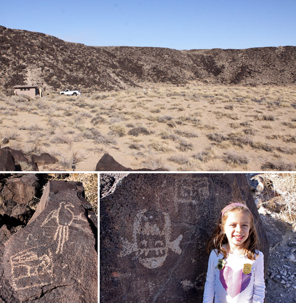 Visitando o Petroglyph National Monument, em Albuquerque, Novo México (Julia com suas badges de Junior Ranger)