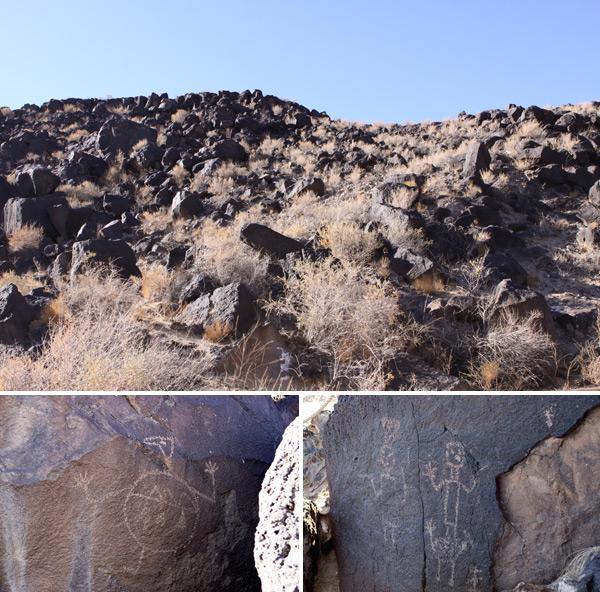 A paisagem do Petroglyph National Monument: árida e de rochas vulcânicas, onde você encontra milhares de desenhos espalhados pelas pedras