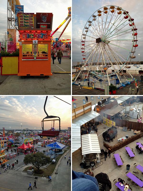 """O """"Carnival"""" (parque de diversões) do Rodeio de Houston tem até teleférico"""