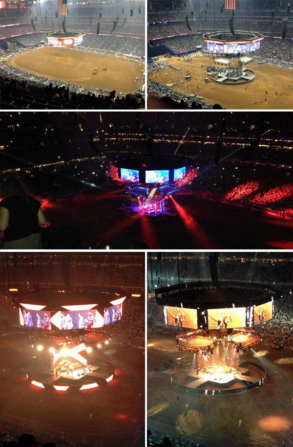 O palco sendo montado e depois de pronto, com o show rolando no Rodeio de Houston