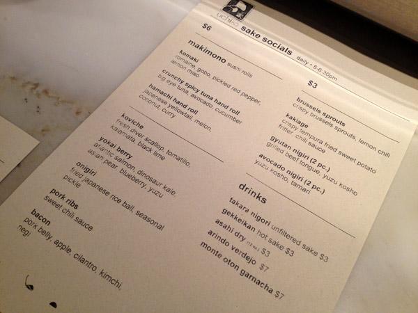 O menu do Uchiko para o Happy Hour, chamado Sake Hour, tem ótimos preços