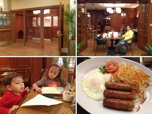 Café-da-manhã no ABQ Grill, que fica no Lobby do hotel