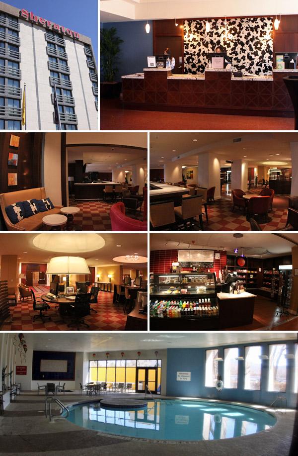 Sheraton Albuquerque Uptown Hotel, em Albuquerque, Novo México: Lobby com bar, área de computadores, TV e mercadinho, e a piscina aquecida ali pertinho