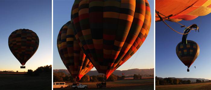 Os balões subindo
