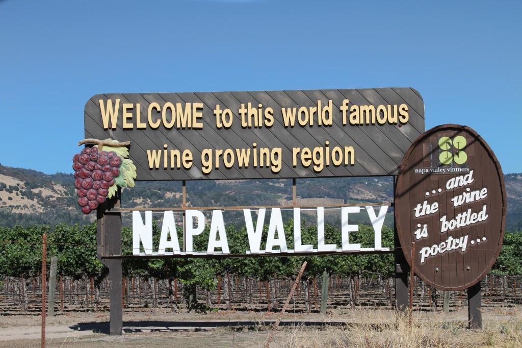 Placa na entrada de Napa