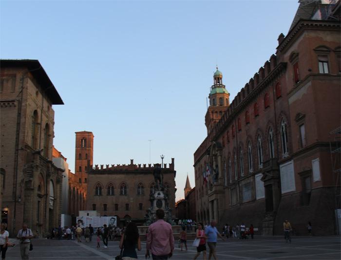 A Piazza Magiore em Bolonha